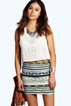 Boohoo Annie Metallic Aztec Mini Skirt Multi