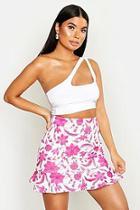 Boohoo Petite Floral Print Mini Ruffle Skirt