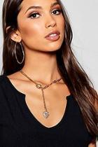 Boohoo Heart & T-bar Necklace