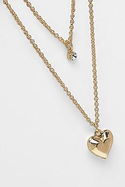 Boohoo Simple Heart Layered Necklace