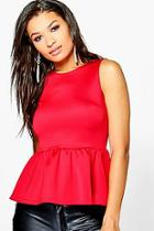 Boohoo Faith Sleeveless Peplum Top