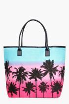 Boohoo Lucy Palm Scene Beach Bag Pink