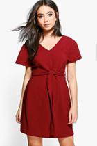 Boohoo Sarah Fluted Sleeve Belted Skater Dress Berry