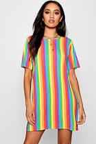 Boohoo Petite Shelly Rainbow T-shirt Dress