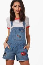 Boohoo Amelie Patch Denim Dungaree Shorts