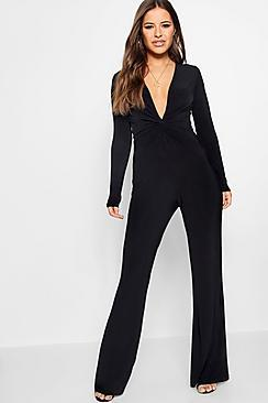 Boohoo Petite Polly Knot Front Plunge Jumpsuit