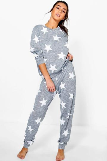 Boohoo Alice Star Print Sweat + Jogger Set Grey