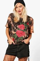 Boohoo Lilly Washed Oversized Embroidered Tee