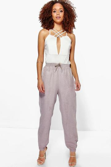 Boohoo Willow Suedette Pocket Side Luxe Jogger Grey