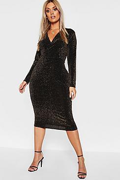Boohoo Plus Glitter Wrap Over Midi Dress