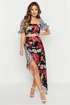 Boohoo Petite Satin Mixed Floral Peasant Crop