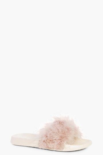Boohoo Annabelle Feather Slider Blush