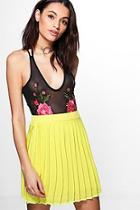 Boohoo Cate Chiffon Pleated Full Mini Skirt