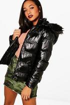 Boohoo Rebecca Padded Jacket With Detachable Hood