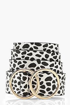 Boohoo Plus Dalmation Spot Double Ring Belt