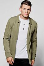 Boohoo Muscle Fit Jersey Harrington Jacket Olive