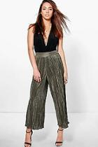 Boohoo Ruby Pleated Wide Leg Cropped Culottes
