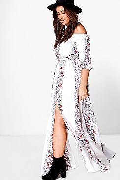 Boohoo Plus Eve Floral Print Off The Shoulder Maxi Dress