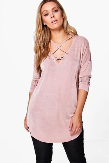 Boohoo Plus Zoe Cross Detail Tunic Top Blush