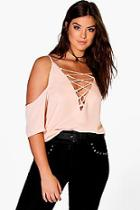 Boohoo Plus Jennie Lace Up Open Shoulder Blouse