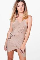Boohoo Petite Carly Slinky Wrap Tie Detail Bodycon Dress