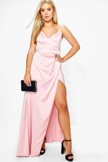 Boohoo Jordyn Satin Wrap Maxi Dress Blush