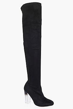 Boohoo Macy Clear Heel Thigh Boot
