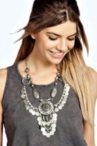 Boohoo Boutique India Statement Coin Necklace Silver