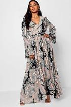 Boohoo Beth Bohemian Tie Waist Maxi Dress