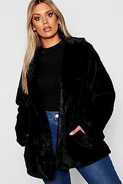Boohoo Plus Faux Fur Coat