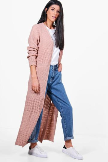 Boohoo Jasmine Side Split Maxi Cardigan Blush