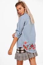 Boohoo Ellie Embroidered Back Denim Shirt