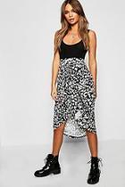 Boohoo Leopard Print Ruched Skirt