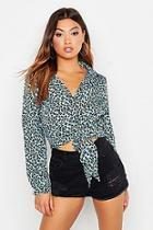 Boohoo Woven Leopard Print Tie Front Shirt