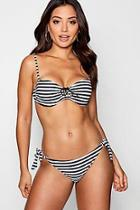 Boohoo Lace Up Front Stripe Bikini
