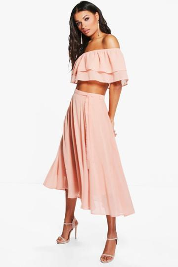 Boohoo Leah Ruffle Off The Shoulder Skater Woven Co-ord Blush