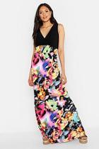 Boohoo Tall Rose Print Maxi Dress