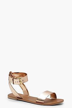 Boohoo Two Part Ankle Strap Leather Sandals