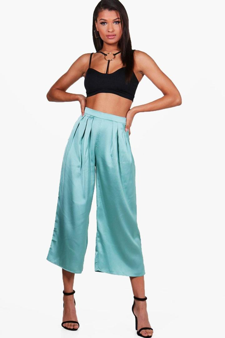 Boohoo Arianna Pleat Front Satin Wide Leg Culottes Sage