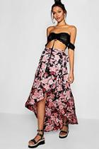 Boohoo Floral Satin Wrap Woven Maxi Skirt