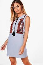 Boohoo Petite Allie Sleeveless Embroidered Skater Dress