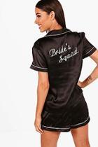 Boohoo Jen Brides Squad Satin Short Set