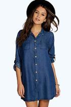 Boohoo Lara Denim Shirt Dress