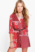 Boohoo Molly Boho Playsuit Wrap Front Playsuit Red