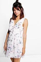 Boohoo Ava Wrap Front Skater Printed Dress