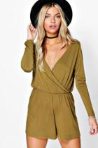 Boohoo Alice Wrap Front Jersey Playsuit Olive
