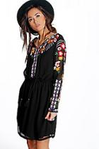 Boohoo Boutique Anya Embroidered Smock Dress