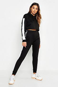 Boohoo Side Stripe Cropped Hoody And Jogger Set