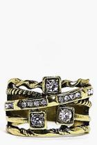 Boohoo Leah Mixed Design Diamante Ring