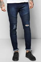 Boohoo Skinny Fit Stretch Jeans With Heavy Biker Detail Indigo